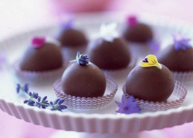 Chocolate Truffles Garnished with Edible Blossoms