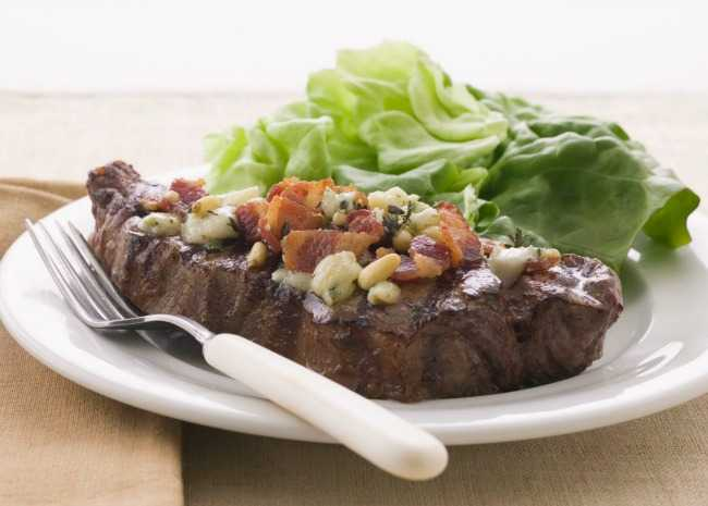 Steak with Blue Cheese, Bacon, and Pine Nuts