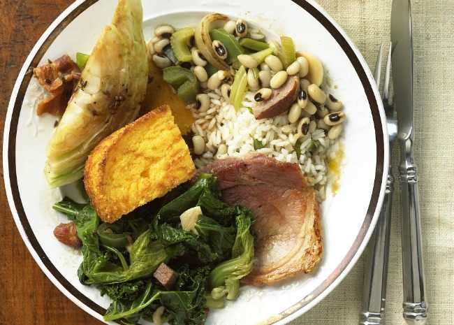 Greens, Black-Eyed Peas, Cornbread, and Ham