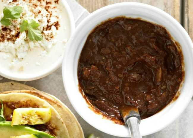 Simple Tostadas with Mole Sauce