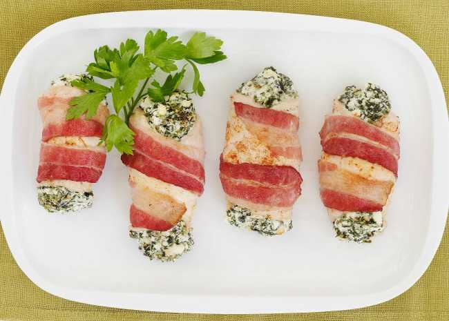 Bacon-wrapped chicken breast stuffed with feta