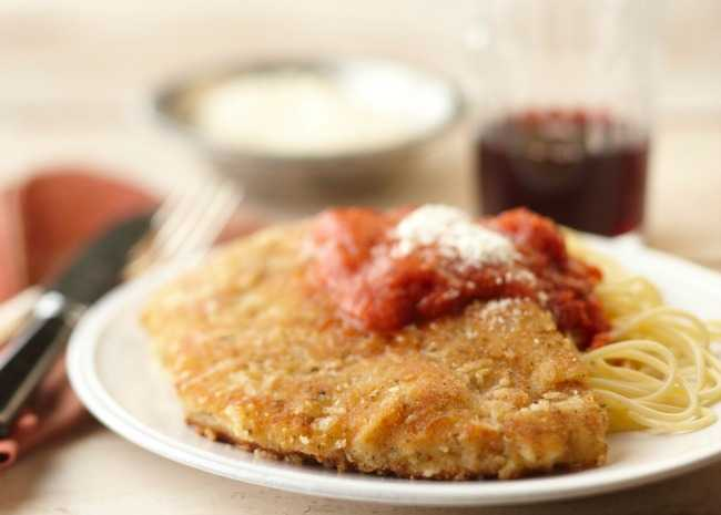 Chicken Parmigiana with Red Wine
