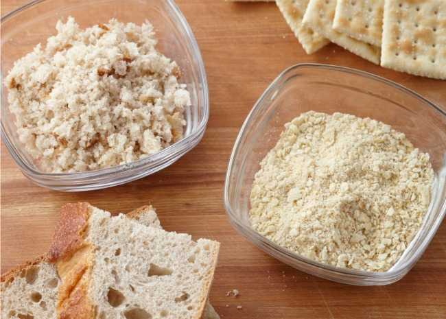 Bread into breadcrumbs and crackers into crackercrumbs