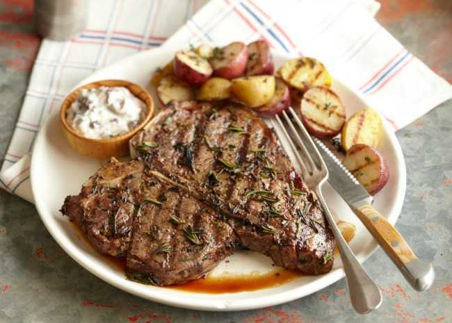 T-bone steak with red potatoes