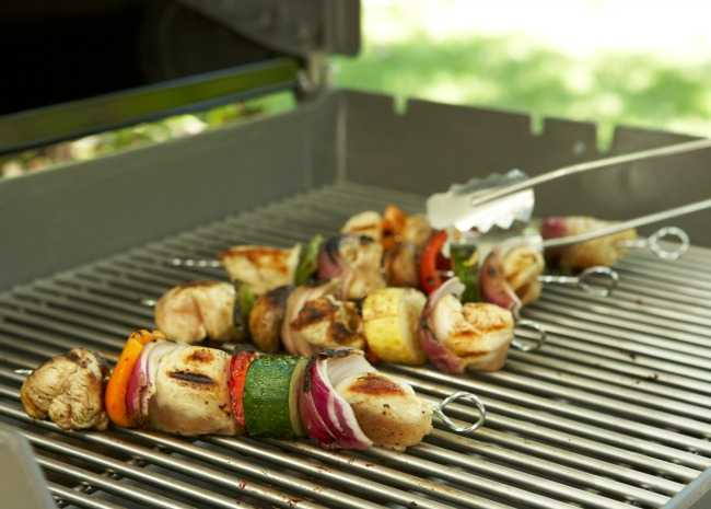 Chicken kabobs on gas grill