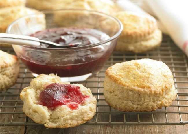 strawberry freezer jam and biscuit