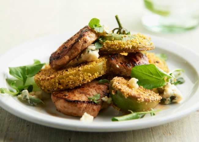Seared pork with fried green tomatoes