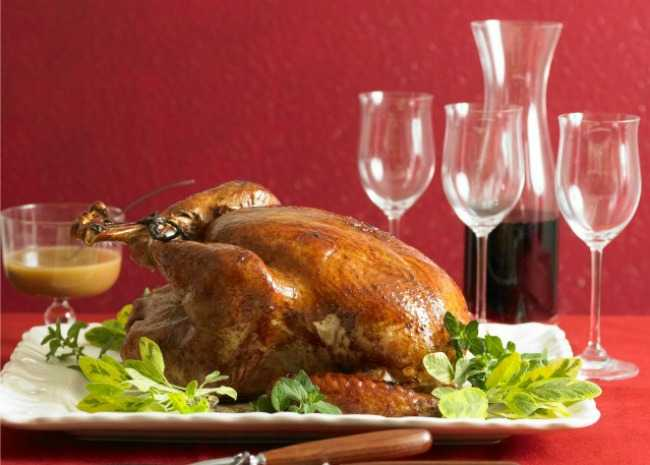 Roast turkey and red wine