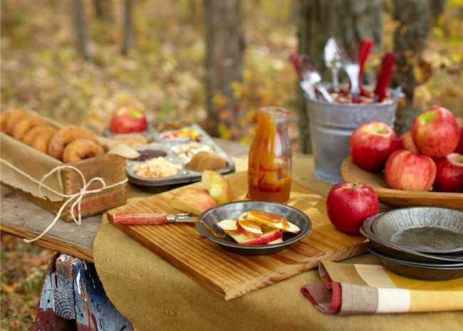 Fall treats on the picnic table