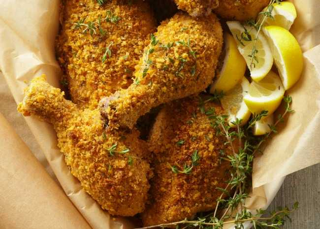 Baked Fried Chicken with lemons and thyme
