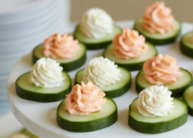 Salmon and Cheese Cucumber Bites