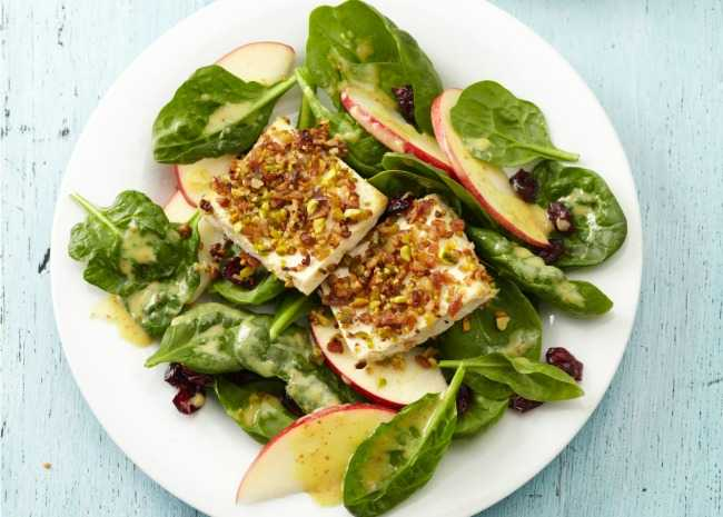 Pistachio-Crusted Tofu with Green Salad