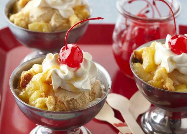 Ice cream sundae with a cherry on top