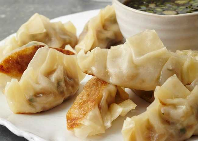 Spicy Pork Pot Stickers with Ginger Dipping Sauce