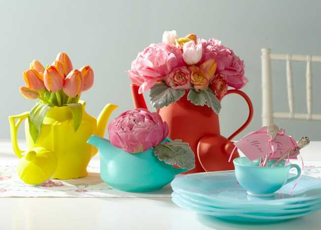 Tea Party Flower Arrangements in Tea Pots