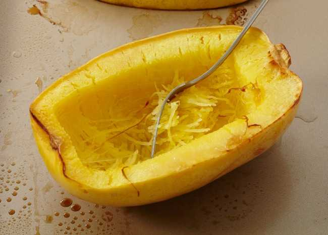 Roasted Spaghetti Squash with Fork and Strands