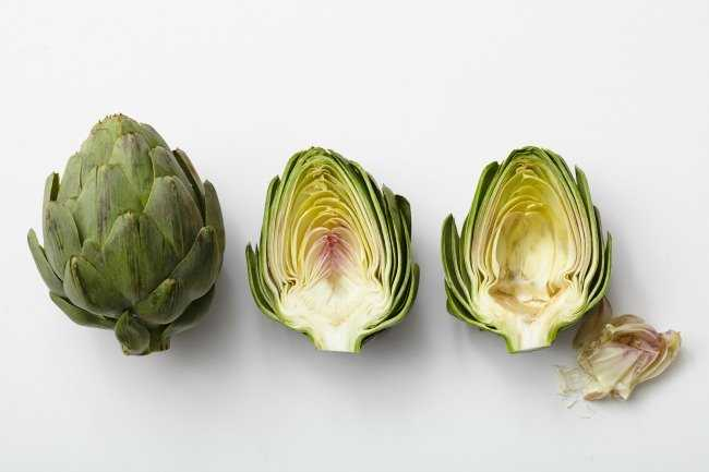 Raw Artichoke and Cross Section