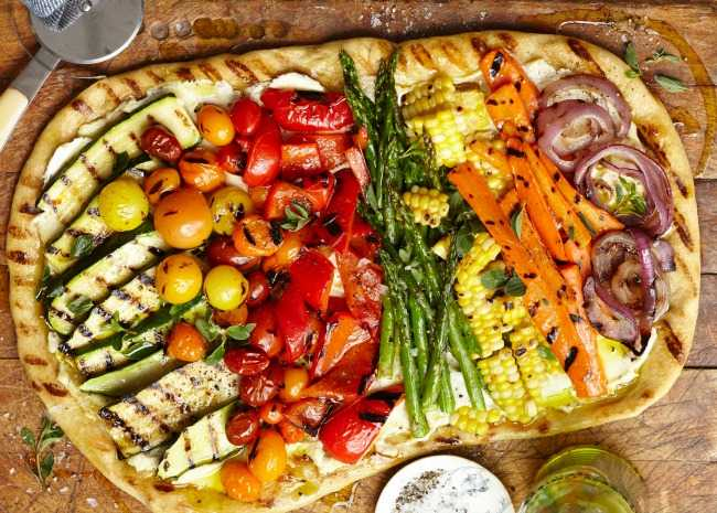 Grilled veggies on grilled pizza
