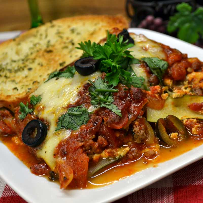 Zuccchini Lasagna with Beef and Sausage
