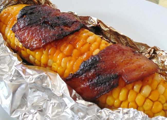 Grilled Bacon Wrapped Corn