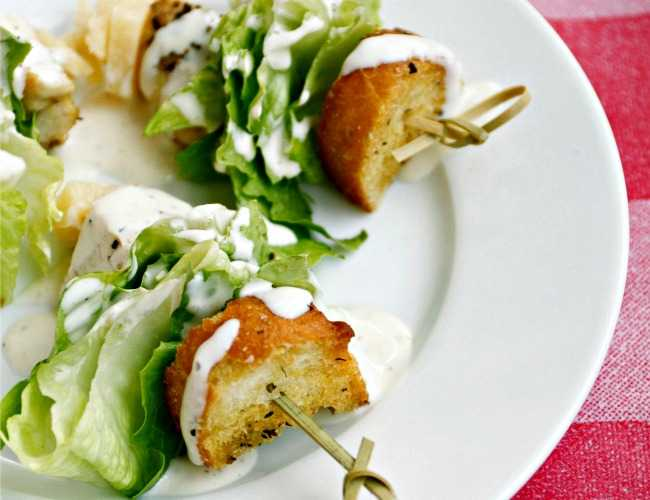Chicken Caesar Salad on a Stick