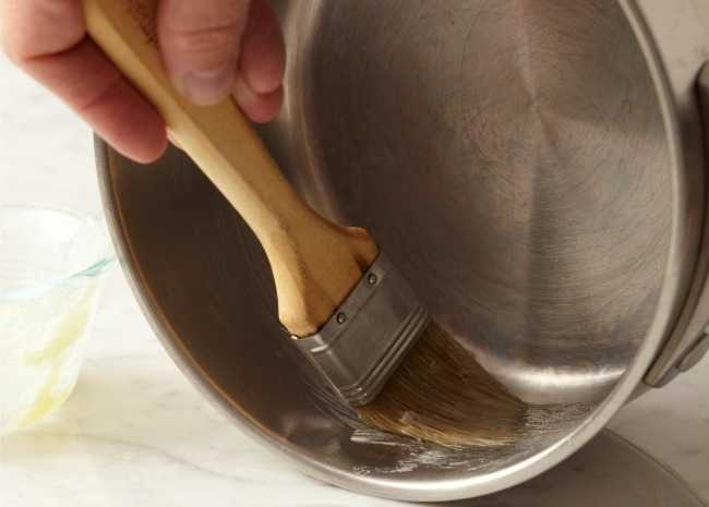 Brushing Saucepan with Melted Butter