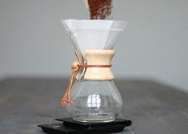 Adding Coffee Grinds to Chemex