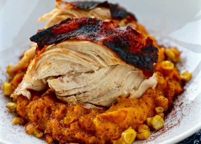 Aztec Chicken with Sweet Potato-Corn Mash