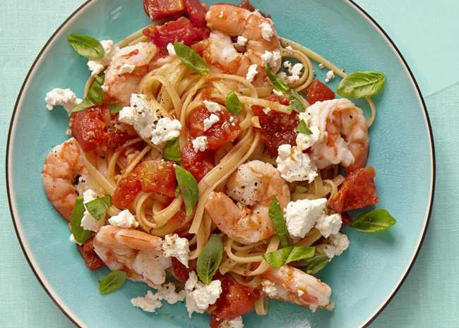 Fire Roasted Tomato Feta Pasta with Shrimp