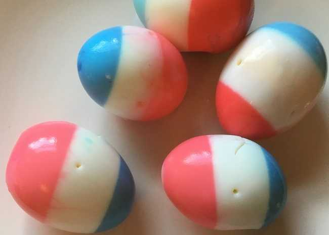 red white and blue dyed eggs