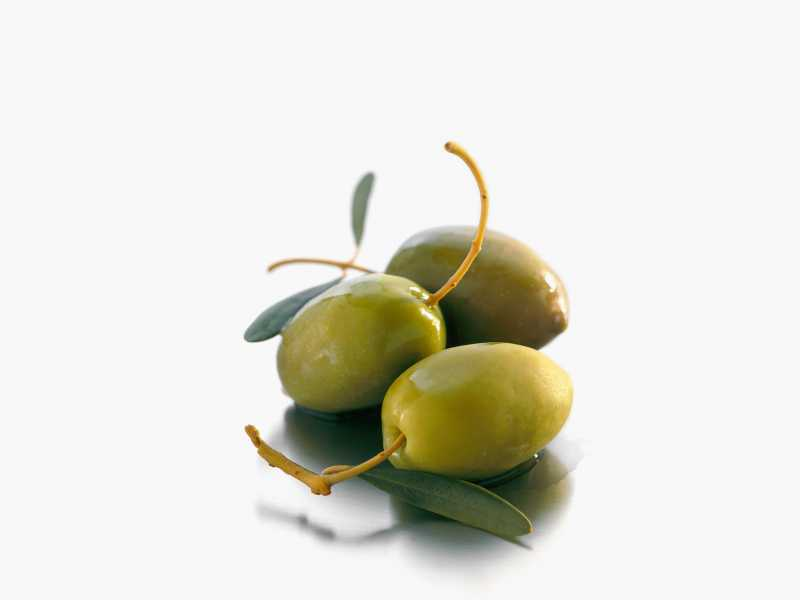 green olives on white background