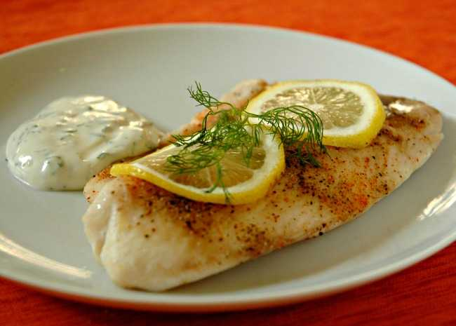 Baked Tilapia with Dill Sauce