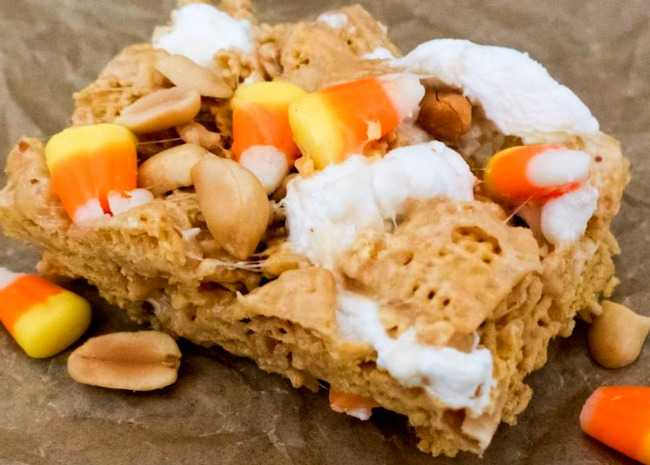 Peanutty Candy Corn Cereal Bars
