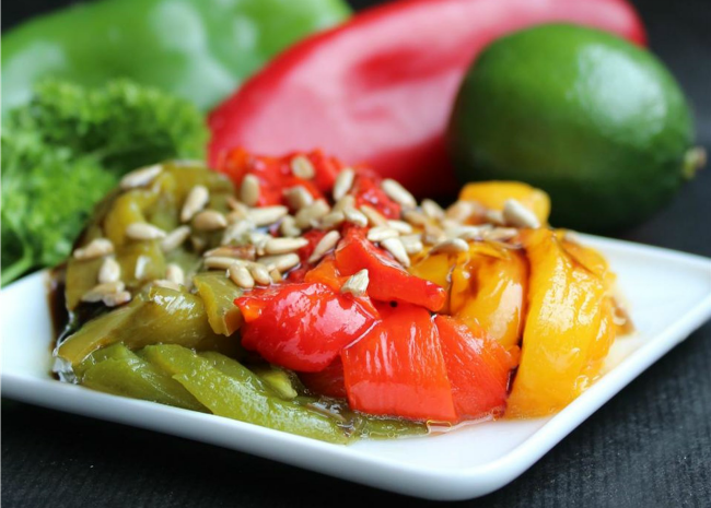 Roasted Bell Peppers with Sunflower Seeds