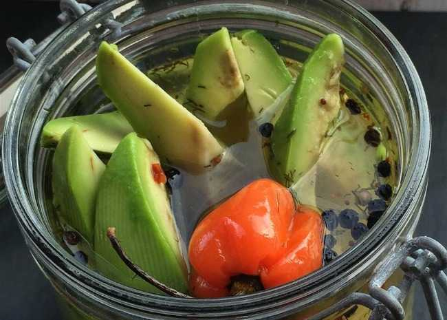 Addictive Spicy Dill Avocado Pickles