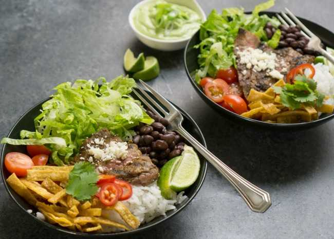 Tex-Mex Beef Bowl with Avocado Cilantro Dressing
