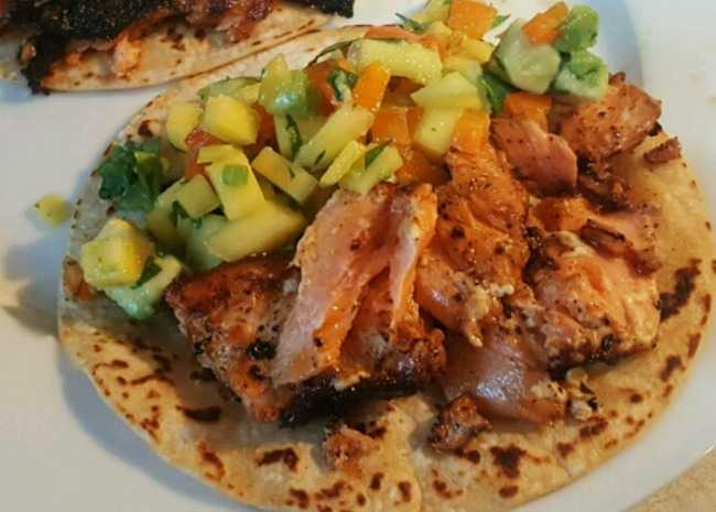 Blackened Salmon Tacos with Chunky Mango Avocado Salsa