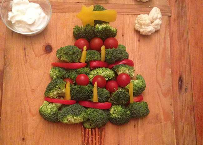 Vegetable Christmas Tree with Broccoli