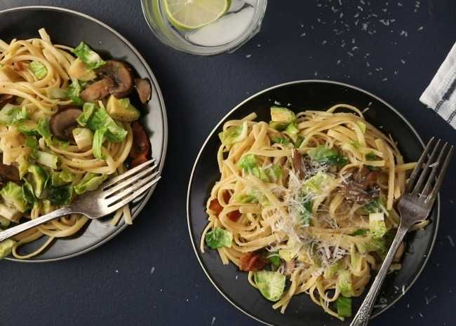 Bacon, Brussels Sprouts, and Mushroom Linguine