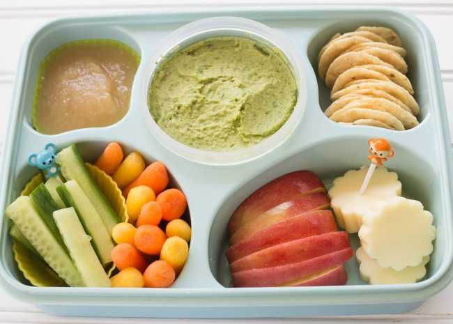 Bento with Avocado Avocado Hummus and a feast of dippers