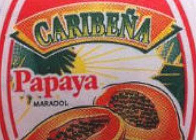 Caribeña's-brand-yellow-Maradol-papayas-sticker