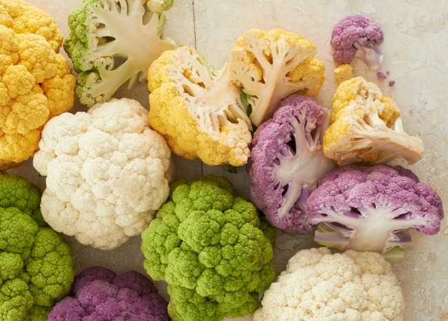 Cauliflowers come in many colors. Photo by Meredith