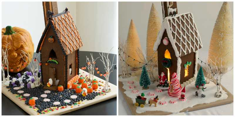 Gingerbread House Remodel From Christmas To Halloween Before And After