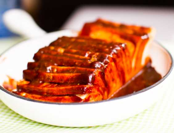 Hasselback BBQ Tofu Photo by Kathy Patalsky