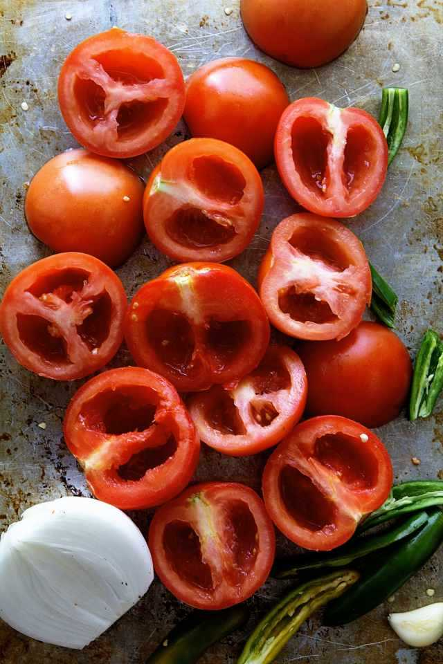 sliced tomatoes for salsa