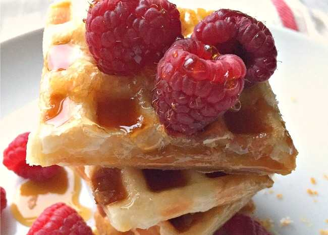 Puff Pastry Waffle with Syrup and Raspberries