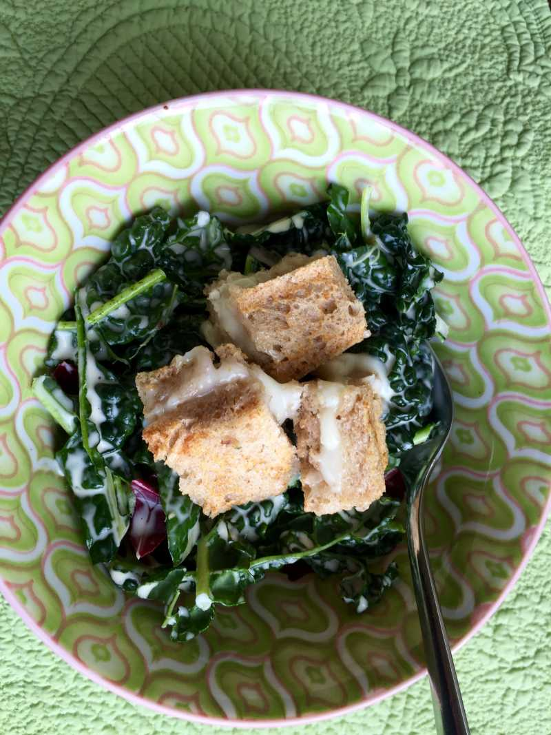 Kale Caesar With Grilled Cheese Croutons