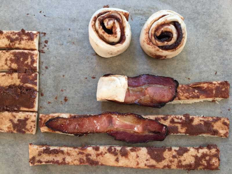 Rolling Up Bacon-Stuffed Cinnamon Rolls