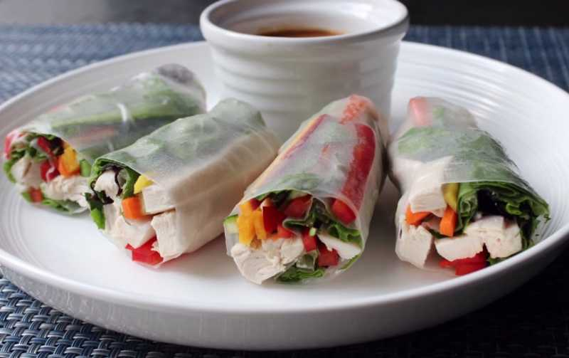 Spring Rolls on Plate with Sauce