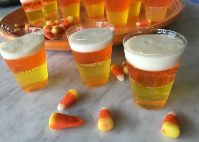 edited candy corn jello shots closeup photo by Leslie Kelly